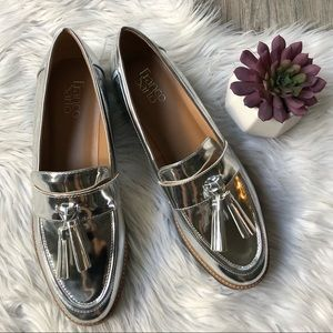 Franco Sarto silver tassel loafers